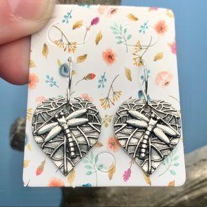 Silver Dragonfly Leaf Drop Earrings NEW